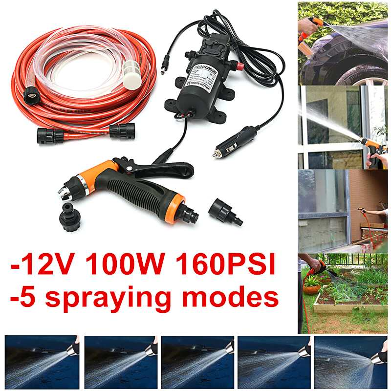 12V Portable 100W 160PSI High Pressure Car Electric Washer Auto Wash Pump Set100W Car Washer 12V Machine Pump High Pressure Clea