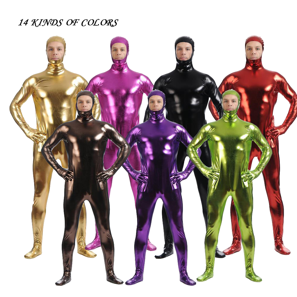 50 XXXLMetalli Spandex Open Face Adult Kids Leotard <font><b>Lycra</b></font> Shining <font><b>Catsuit</b></font> <font><b>Sexy</b></font> Unisex Zentai Full Body Set Costume cosplay Party image