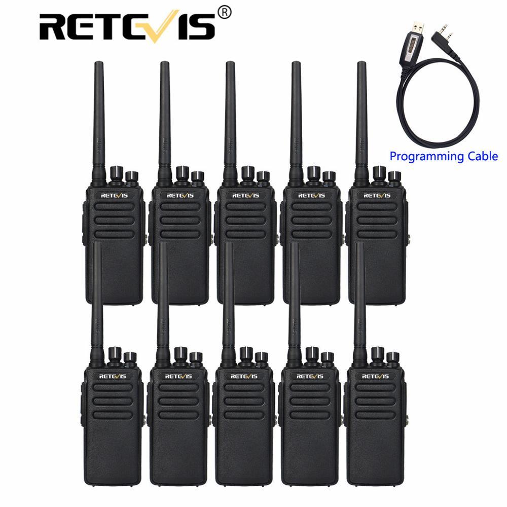 Talkie-walkie DMR Radio numérique 10 pièces chape RT81 IP67 étanche UHF cryptage VOX Mode numérique/analogique marche parler + câble