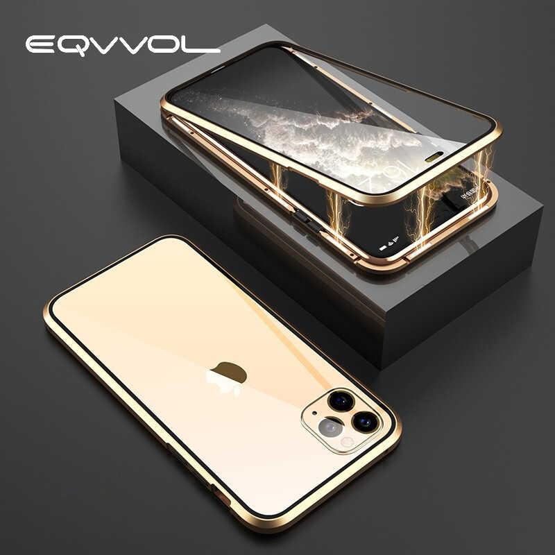 Eqvvol 金属 Iphone 5 11 プロマックス両面ガラスマグネット裏表紙 iphone XS 最大 XR × 7 8 プラスクリアケース