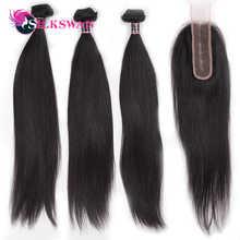 2x6 Kim K Closure Human Hair Extensions Brazilian Hair Medium Ratio Remy Silky Straight Silkswan Bundles with Closure for women