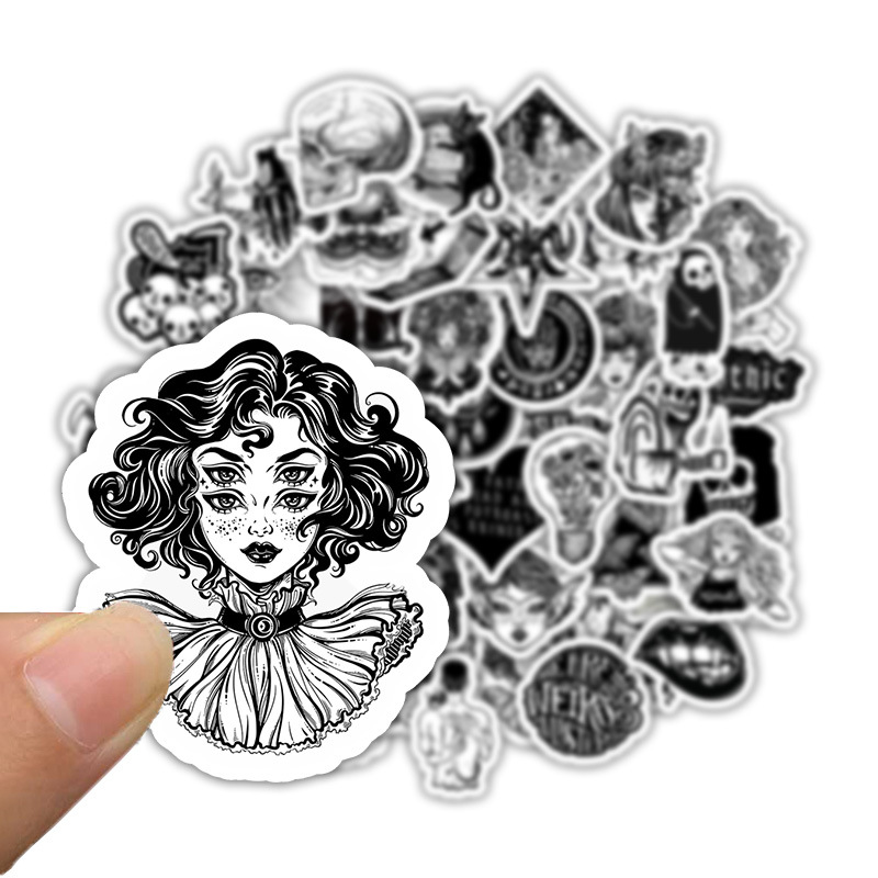 50Pcs/Set Horror And Thriller Style Gothic Wind For Luggage Motorcycle Laptop Refrigerator Washing Machine Pvc Sticker