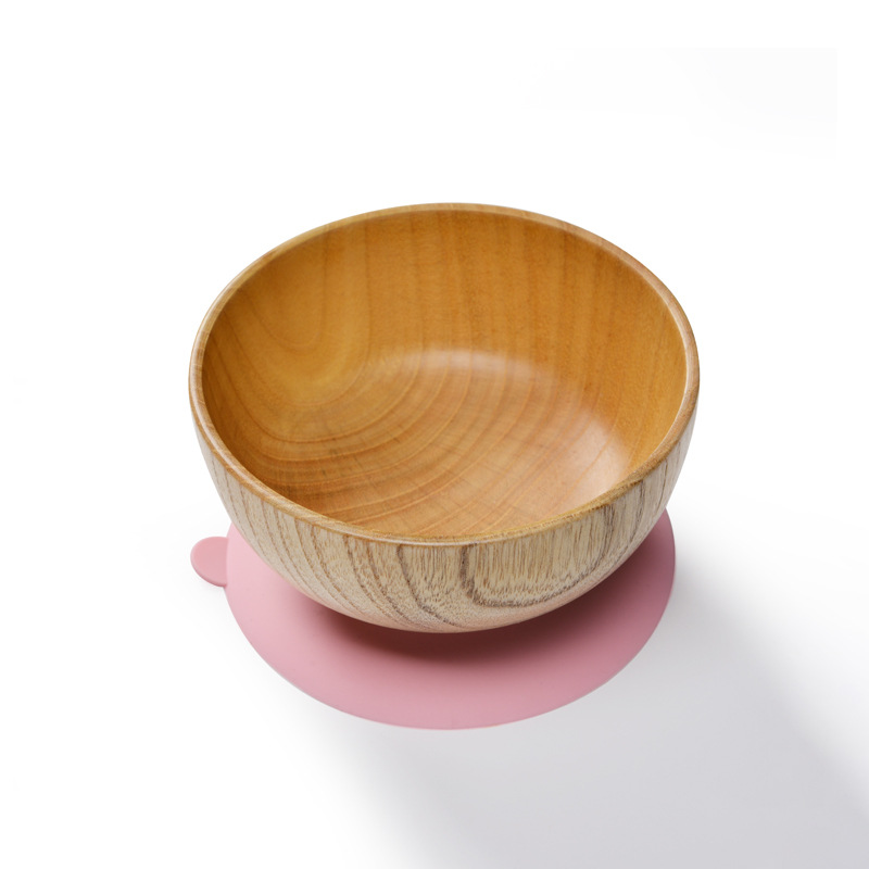 Baby Natural Wood Bowl With Suction Base Anti Slip Toddler Infant Feeding Tableware Utensil