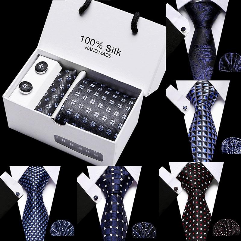 Wedding Tie Men Necktie Set Polyester Cravat 7.5 Cm Width 45 Style Party Formal Dress Accessories Ties Fashion Goft Box Packing