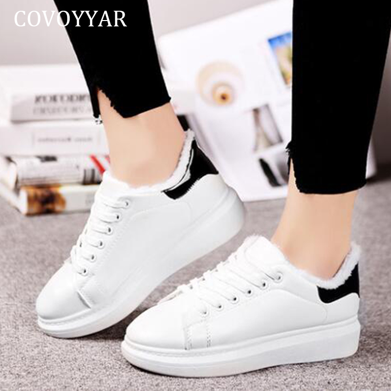 COVOYYAR 2019 Winter Women Shoes Fur Padded Platform Sneakers Women White Shoes Lace Up Comfortable Shoes Woman White WSN2019