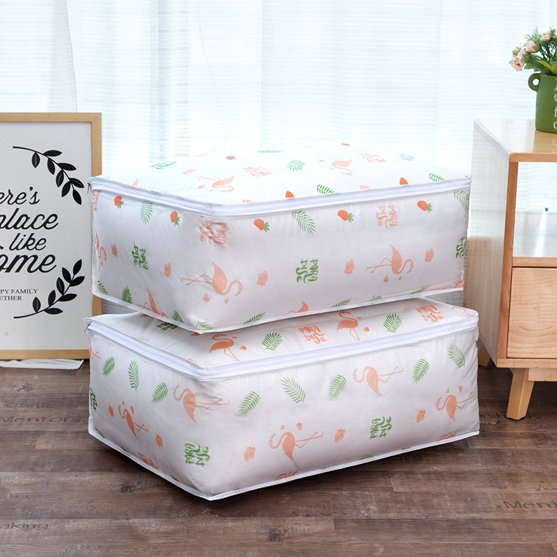 Foldable Storage Bag Flamingo Print Clothes Blanket Quilt Organizer Stroage Bag Clould Transparent Travel Luggage Organizer Bag