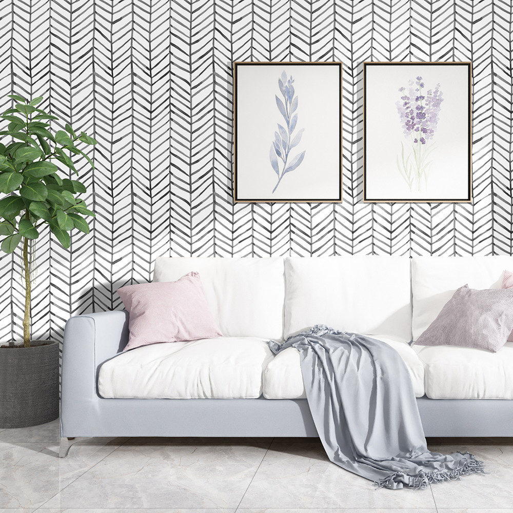Modern Stripe Peel And Stick Wallpaper Herringbone Black White Vinyl Self Adhesive Contact Paper For Kidroom Bedroom Home Decor 3