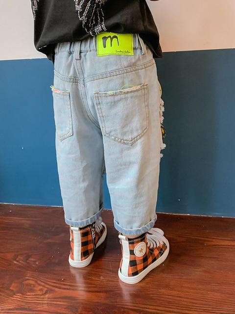 Children Ripped Denim Capri Pants Tide Boys qi gai ku Western Style Children Baby Summer Thin Trousers Kids Male 3