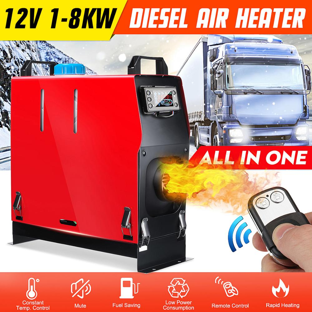All In One Air Diesels Heater 1KW-8KW Adjustable 12V One Hole Car Heater For Trucks Motor-Homes Boats Bus +LCD Key Switch+Remote