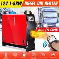 Chauffage diesel tout-en-un 1KW-8KW chauffage de voiture réglable 12V à un trou pour camions autocaravanes bateaux Bus + interrupteur à clé LCD + télécommande