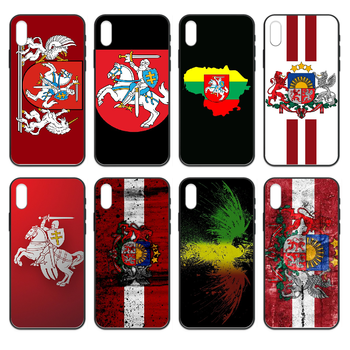 Lithuania Latvia flag Phone case cover hull For iphone 4 4s 5 5S SE 5C 6 6S 7 8 plus X XS XR 11 PRO MAX 2020 black coque 3D image