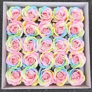 Image 5 - 25ピース/セットカラフルな石鹸ローズ装飾花石鹸花びら結婚式の好意バレンタインデーのギフトレインボーローズブーケ