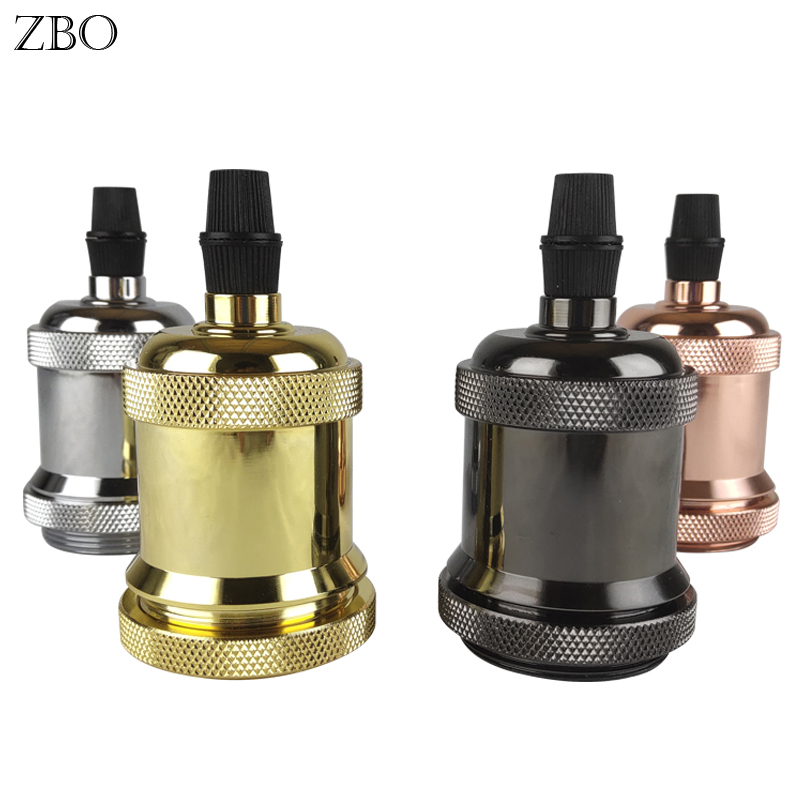 Edison Lamp Base Retro Aluminum Light Socket Light Fittings Lamp Head Gold/Silver/Bronze/Black E27 Vintage Lamp Holder