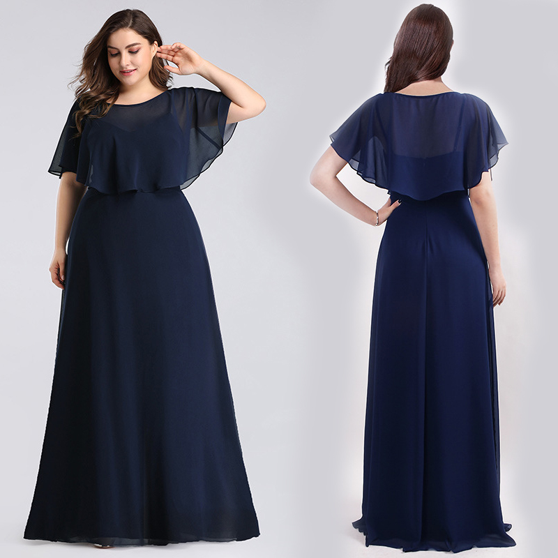 Bridesmaid Dresses A-line Plus Size Floor-length Scoop Shawl Sleeveless Wedding Guest Party Gowns Cheap Long Prom Dress