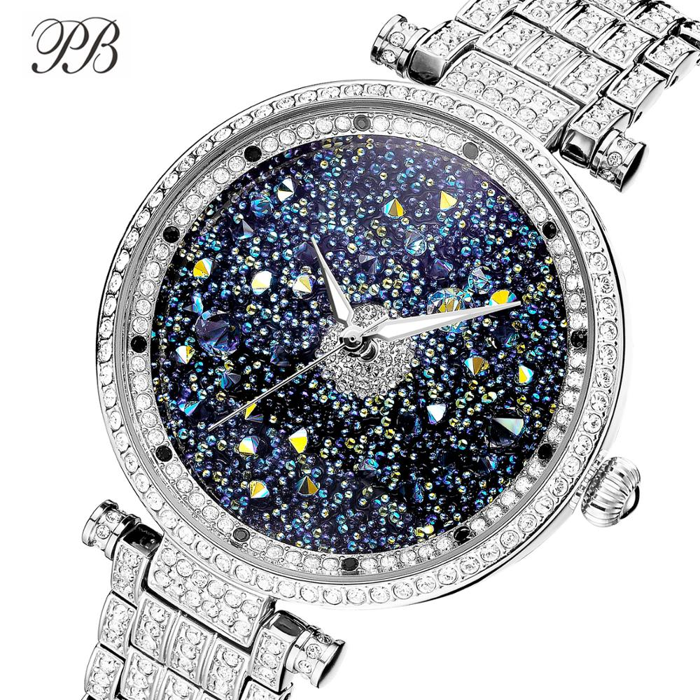 Princess Butterfly Brand Luxury Starry Sky Women Watches Rhinestone Crystal Waterproof Quartz Reloj Mujer Silver&Rose Gold