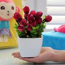 Набор искусственных цветов для гостиной, мини украшение для дома и офиса, пластиковый цветочный журнальный столик, маленький бонсай, цветочный горшок