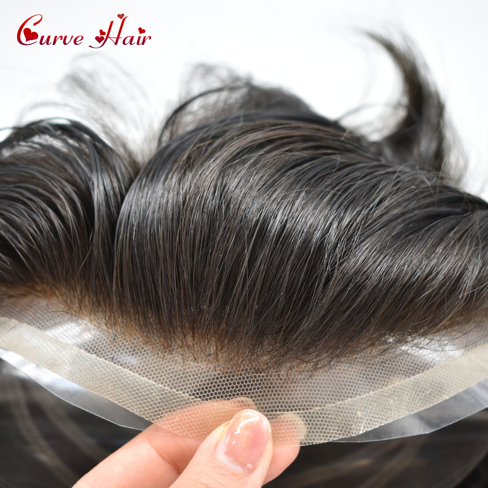 Natural Black Human Hair Toupee For Men 120% Light To Medium DEnsity French Lace Front Bleached Knots Hair System Male Hairpiece