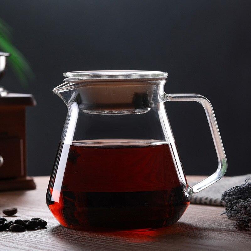 Borosilicate Glass Coffee Pot With Lid Pour Over Coffee Maker Hario V60 Portable Drip Kettle Tea Pots Espresso Coffe Percolator