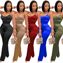 Cutubly Long Sleeve Jumpsuits And Rompers For Women Solid Sexy Jumpsuits Fashion Belt Spaghetti Strap Jumpsuits Club Wear