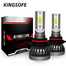 Kingsofe farol de carro 2x led, h4 h7 h1 h11 9006 9005 9012, kit de conversão de farol de carro com iluminação de 360 graus lâmpada 90w 12000lm