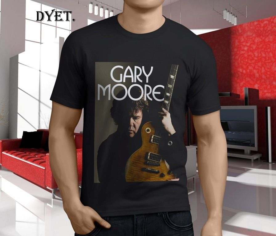 New GARY MOORE With Guitar Rock amp Blues Guitarist Men's Black T-Shirt S-5XLNew T Shirt Spring Summer image