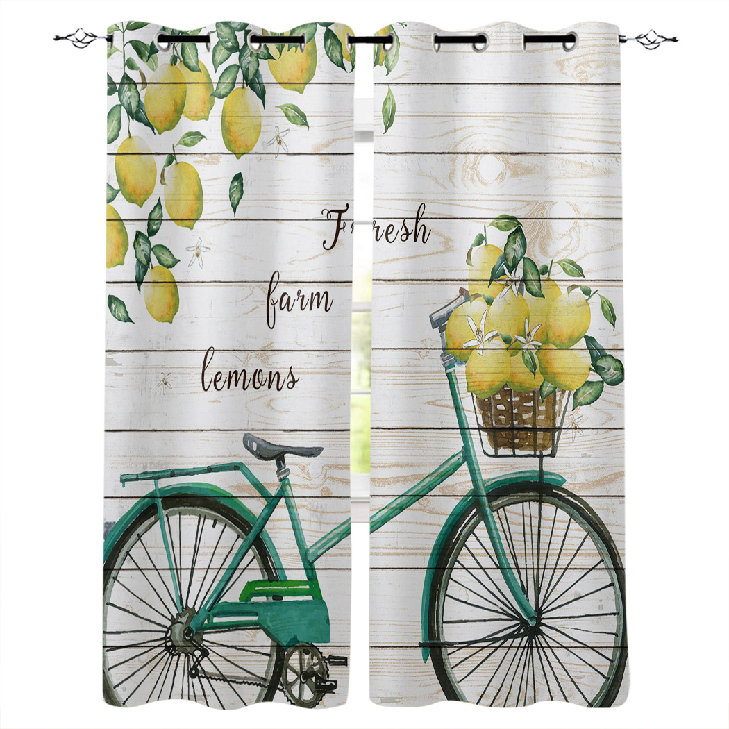 Lemon Bicycle Wooden Board Texture Bedroom Kitchen Window Curtains Curtains For Living Room Decorative Items Curtains Aliexpress