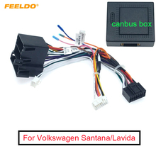 FEELDO 1PC Car Radio Stereo Head Unit 16Pin Wire Harness Adapter With Canbus Box For Volkswagen Android Power Cable Connector