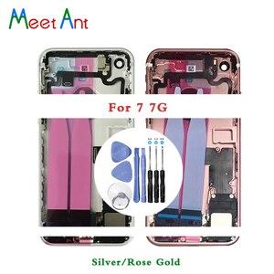 Image 2 - Высокое качество, для iphone 7 7G или 7 Plus, задняя средняя рама, Корпус в сборе, крышка аккумулятора, задняя дверь с гибким кабелем