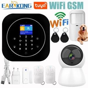 Image 1 - Wifi GSM 警報システム、 Rfid 盗難セキュリティ液晶タッチキーボード 433 433mhz のワイヤレスセンサーアラーム 11 言語 Tuyasmart スマートライフアプリ