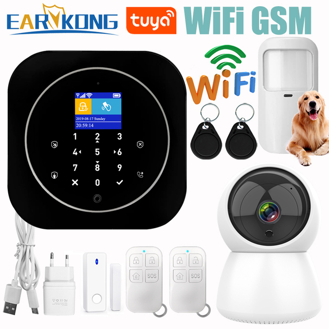 Wifi GSM 警報システム、 Rfid 盗難セキュリティ液晶タッチキーボード 433 433mhz のワイヤレスセンサーアラーム 11 言語 Tuyasmart スマートライフアプリ