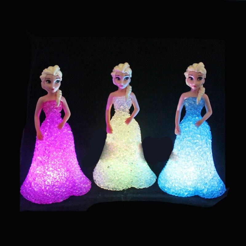 Bonecas frozen, brinquedos para meninas, anna, elsa, brinquedos, bonecas, gelo, rainha, 7 led, mudança de cor, luz noturna, lâmpada meninas presente