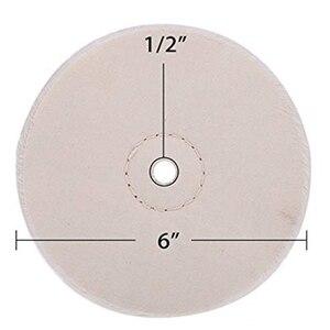 Image 5 - 3ชิ้น6นิ้วกระจกชุดล้อขัดล้อฝ้ายสำหรับBench Grinderเครื่องมือ1/2นิ้วArborหลุม