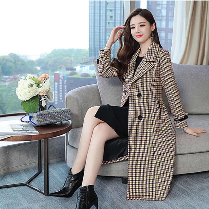 2019 한국어 패션 plaided 스포츠 용 재킷 여자 더블 브레스트 겨울 가을 캐시미어 모직 코트