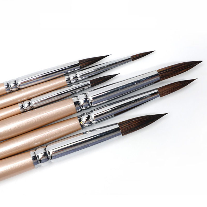 Watercolor brush black marten animal hair 6 pcs round pointed watercolor painting brush set adult beginner student hand-painted title=