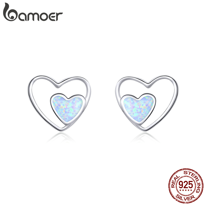 Bamoer Heart In Heart Stud Earrings For Women 925 Sterling Silver Love Couple Statement Jewelry 2020 New Oorbellen SCE858