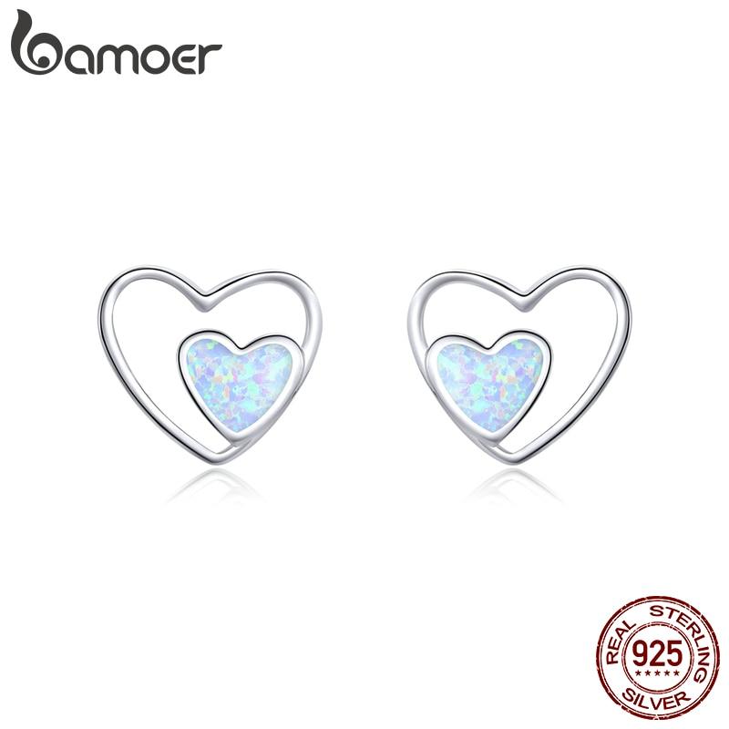 Bamoer Heart In Heart Stud Earrings For Women 925 Sterling Silver Love Couple Statement Jewelry 2020 New Oorbellen SCE858