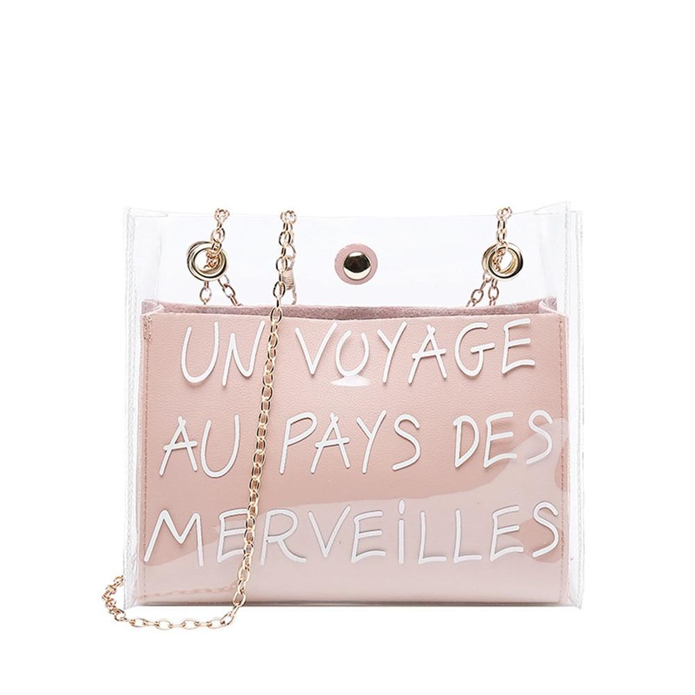 Women Fashion Shoulder Bag PU Metal Chain Crossbody Messager Bag Alphabet Purse Wild For Young Lady Honey Bundy Bag Transparent