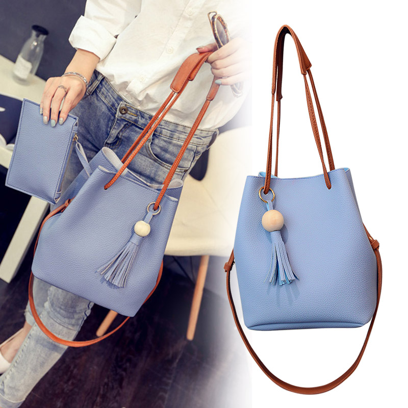 New Hot Women PU Leather Bucket Shoulder Bag With Small Handbag Messenger Satchel Bag SMR88