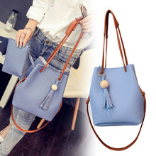 New Hot Women PU Leather Bucket Shoulder Bag with Small Hand