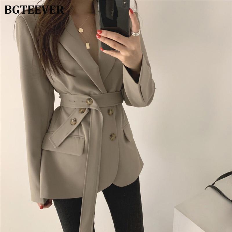 Vintage Lace Up Women Blazer Coat Full Sleeve Slim Female Suit Jacket Elegant Work Style Blazer Outerwear Femme 2019 Autumn