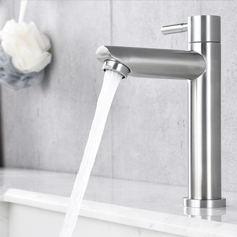 Image 4 - Stainless steel bathroom faucet basin mounted deck only cold tap rust and corrosion resistance of bathroom water tapBasin Faucets   -