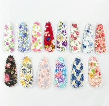 50pcs pack fabric Snap Clip coloful floral Hair clips