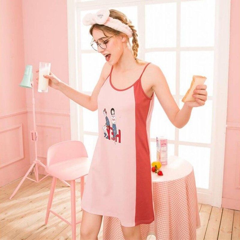 Women Summer Nightgowns Cartoon Print Sleepwear Sleeveless Sling Nightdress Casual Fashion Cotton Night Dress Homewear Nighties