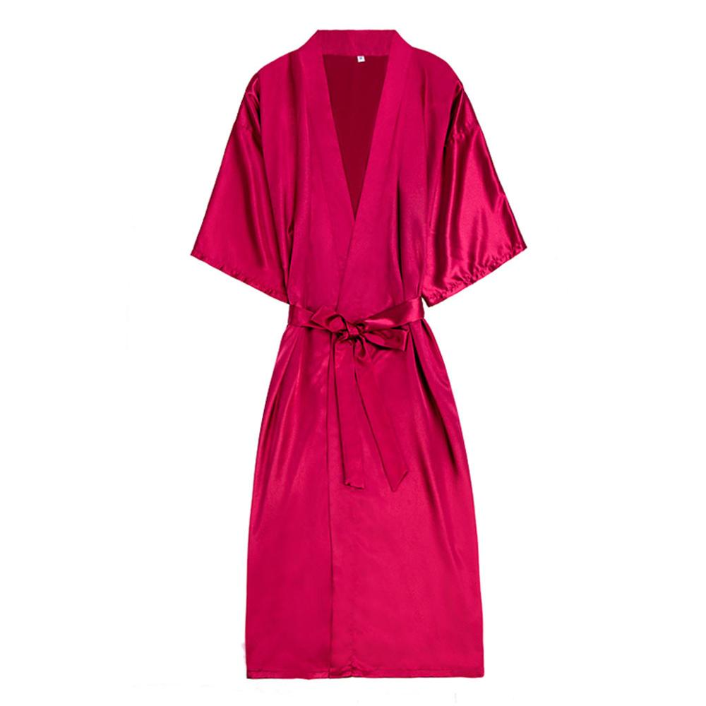 Women's Sexy Silk Satin Kimono Robe Bathrobe Baby Dress Underwear Nightdress Lace Stitching Long Bathrobe Robe Home Service #121