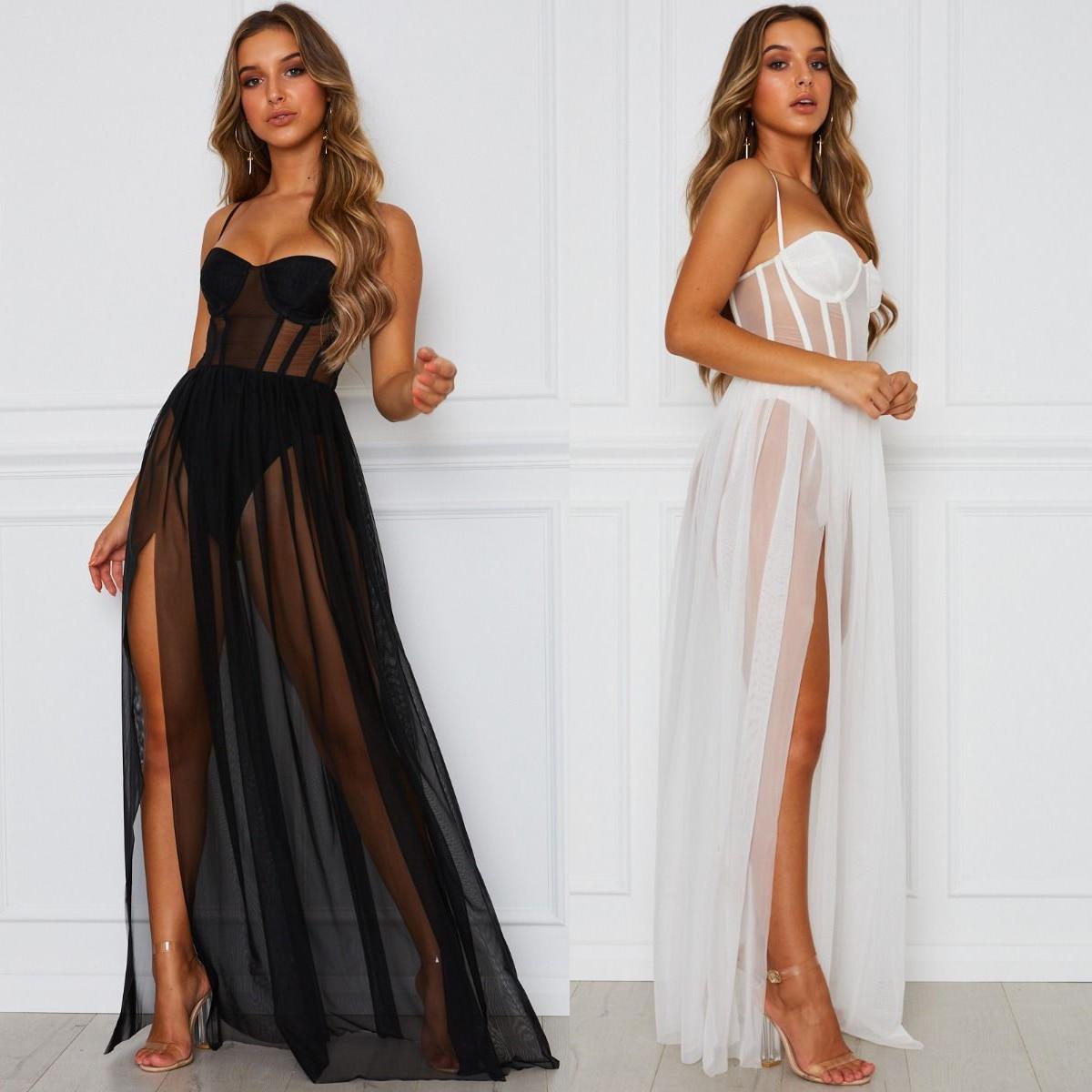 Push Up Padded Sexy Dress Women See-through Mesh Slip Dress High Split Leg High Waist Night Party Fashion Queen Maxi Dress 2019