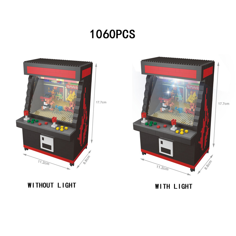 Funny Classic Fighting Arcade Games Micro Diamond Block Game Console Ryu Ken Building Bricks Toys Nanobricks With Led Light