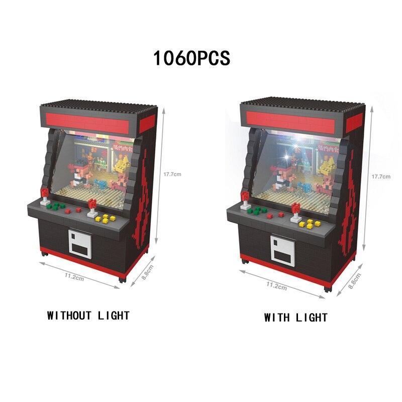 Jogos clássicos engraçados da arcada da luta micro console de jogo do bloco do diamante ryu ken tijolos de construção brinquedos nanobicks com luz do diodo emissor de luz