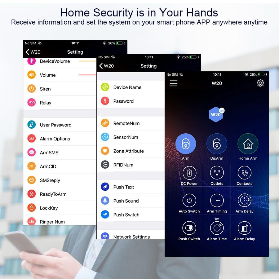 KERUI W20 bezpieczeństwo w domu sprzęt alarmowy kolorowy wyświetlacz TFT 2.4G sieć bezprzewodowa WIFI kontrola aplikacji System alarmowy sabotażu