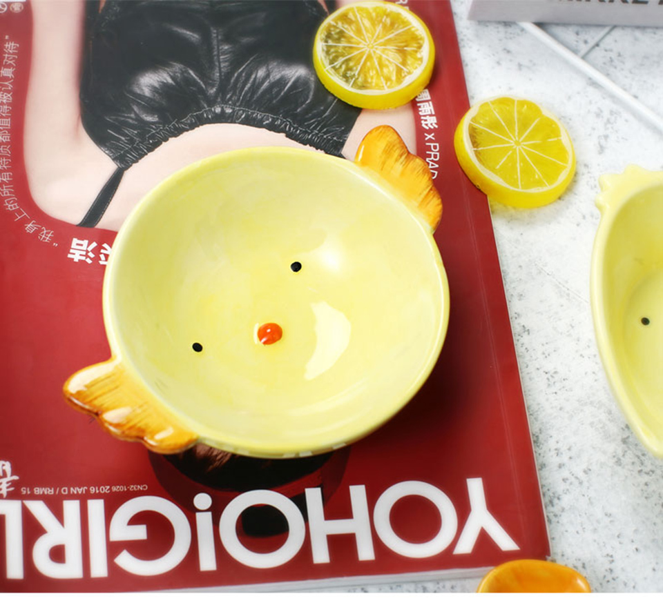 Cute Cartoon Chick Shape Ceramic Salad Bowl Plate Breakfast Baby Bowl Fruit Snack Dessert Tray Dishes Tableware Kitchen Supplies