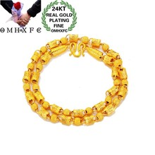 OMHXFC Jewelry Wholesale EX185 European Fashion Fine Man Party Birthday Wedding Round Cylinder Beads 24KT Gold Chain Necklace(China)